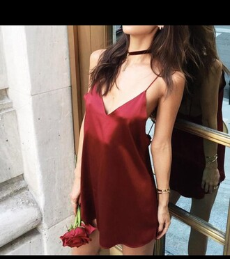 dress silk red dress jewels jewelry choker necklace velvet velvet choker burgundy necklace fashion toast burgundy choker absolutemarket jewel cult silk dress slip dress red slip dress red choker girl girly girly wishlist red red silky dress rumi neely blogger