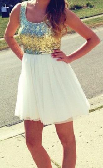 dress sequin dress ivory tulle dress party dress bow back dress gold sequins