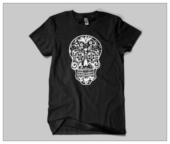 t-shirt halloween skull hipster tumblr skull t-shirt tumblr outfit tumblr girl tumblr clothes dia de los muertos