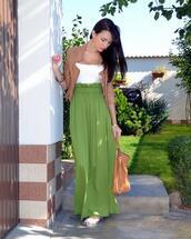 skirt,green,maxi skirt,waistband