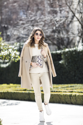 lovely pepa blogger pants coat bag shoes sweater sunglasses jewels vans outfits vans white sneakers high top sneakers white sweater beige coat round sunglasses pouch snake print white pants white cable knit sweater