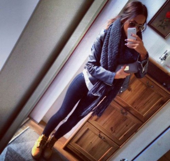 black jeans jacket scarf black winter outfits scarf season cute outfit casual boots timberlands leather jacket cute