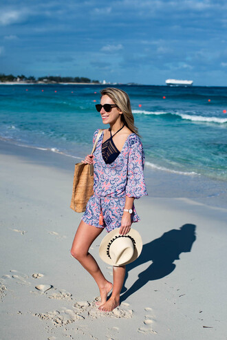 katie's bliss - a personal style blog based in nyc blogger romper swimwear top bag hat sunglasses jewels summer outfits beach beach bag summer