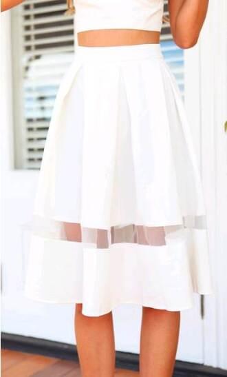 skirt mesh white skirt white mesh panel high waisted skirt pleated skirt structured skirt waist band