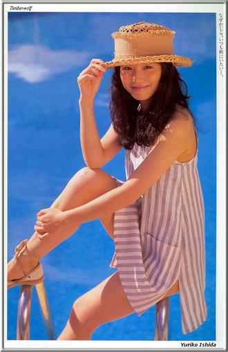 hat jpop japan 1990 yuriko ishida dress 1980s 1970s celebrity photoshoot straw hat sandals