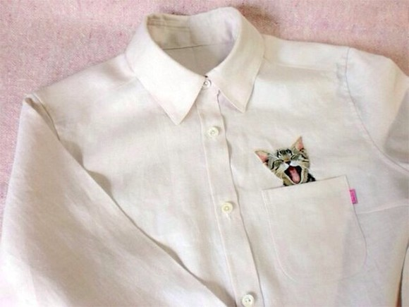 shirt white shirt white cute cat cat shirt button up kitten formal shirt white button up top
