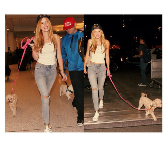 snapback jeans gray jeans ripped jeans bella thorne white t-shirt