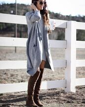 dress,tumblr,sweater dress,grey dress,mini dress,cardigan,grey cardigan,oversized cardigan,oversized sweater,boots,brown boots,over the knee boots,sunglasses,fall outfits