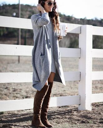dress tumblr sweater dress grey dress mini dress cardigan grey cardigan oversized cardigan oversized sweater boots brown boots over the knee boots sunglasses fall outfits