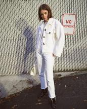 jacket,white jacket,jeans,white jeans,all white everything,oversized jacket,oversized,double3xposure,blogger