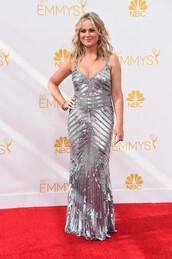 dress,amy poehler,silver,sparkly dress,emmys 2014