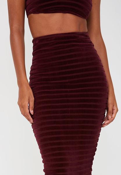 Velour Stripe Midi Skirt - Burgundy