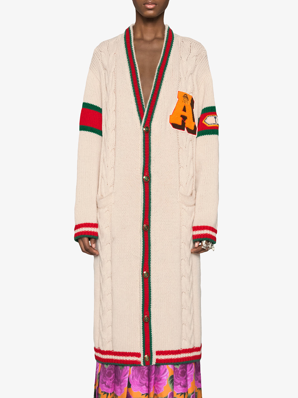 Embroidered Chunky Cable Knit Cardigan - Farfetch