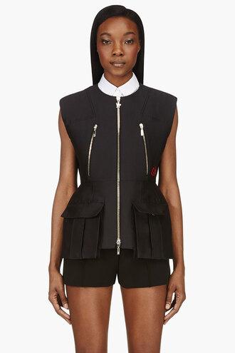 waist black jacket clothes women vest outerwear nip cargo