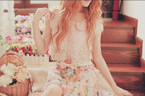 blouse lace top pink shirt peter pan collar crop tops girly