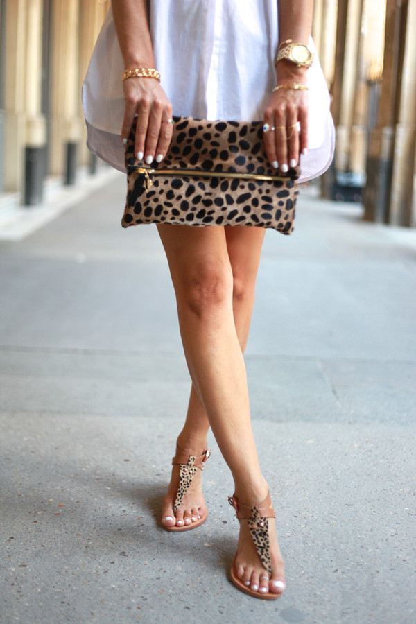 b a r t a b a c jeans shoes bag sunglasses jewels leopard print gold bracelets leopard print shoes sandals summer outfits leopard clutch clutch pull and bear denim shorts blogger furry pouch