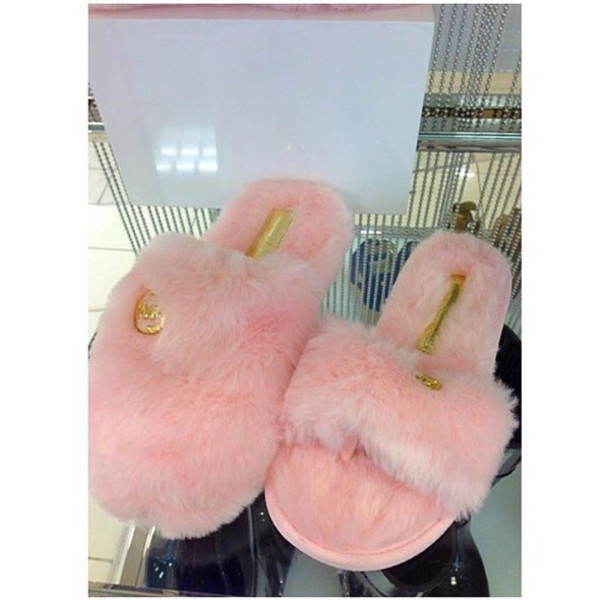 6b1674c2c7d5 shoes slippers slide shoes fur slippers pink