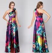 dress,floral dress,satin dress,satin,one shoulder dress,multicolor dress,multicolor,colorful,maxi dress,long evening dress,long prom dress,floral,one shoulder