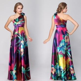 dress floral dress satin dress satin one shoulder dress multicolor dress multicolor colorful maxi dress long evening dress long prom dress floral one shoulder