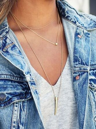 jewels dainty jewelry layered necklace gold necklace denim jacket grey top horn necklace