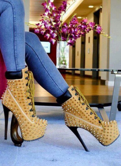 high heels studded shoes jeans skinny pants ripped jeans boots style classy hot bodycon dress winter outfits floral lace up summer outfits timberlands heels timberlands platform shoes leather pants leather pumps streetwear streetstyle cute shoes hot pants denim winter boots studs