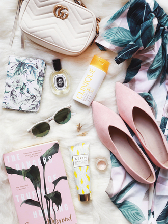 sunglasses tumblr book skin care flats shoes pink shorts perfume clinique bag white bag make-up pink shoes sun care