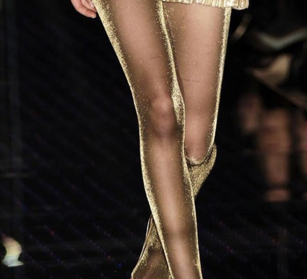 Phrase... something gold shimmer pantyhose theme