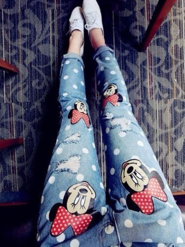 2014 neue stilvolle sommer cartoon charakter mickey mouse perlen lange hosen jeans mit l chern. Black Bedroom Furniture Sets. Home Design Ideas