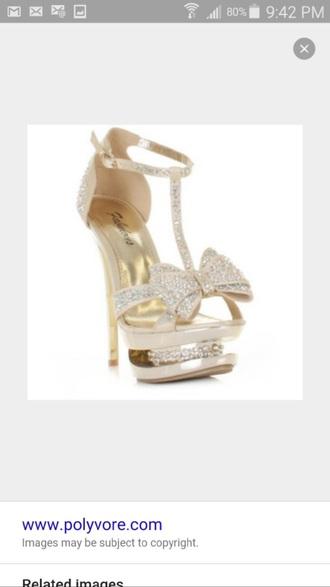 shoes fabulous brand gold high platform high heel diamonds gold sparkles sparkle bows bow rhinestones shiny gold shiny straps sparkly strap