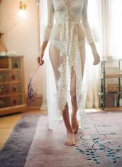 sheer,bridal lingerie,lace,see through,cardigan,rob,lingerie,robe,love
