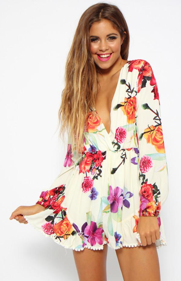 dress floral long sleeve dress romper jumpsuit