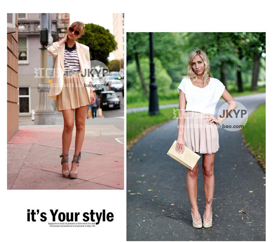 Double Chiffon High Waist Short Pleated Mini Skirt Dress Candy 22 ...