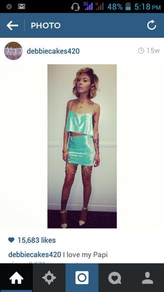 skirt mini skirt blouse lil debbie velvet suede blue light blue 2 piece outfit crop tops velvet shirt velvet skirt cute classy fancy lil debbie rapper girl outfit cute outfit