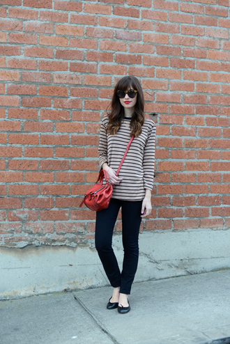 m loves m blogger red bag striped top