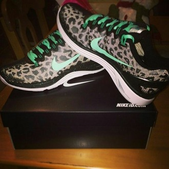 shoes nike free run leopard print turquoise