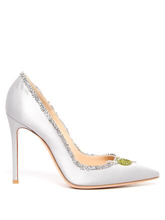 embellished pumps satin light blue light blue shoes