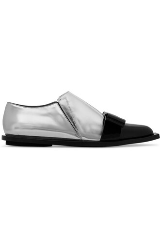 bow embellished loafers leather silver shoes