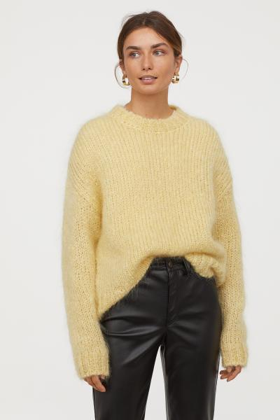 Knitted mohair-blend jumper - Light yellow - Ladies | H&M GB
