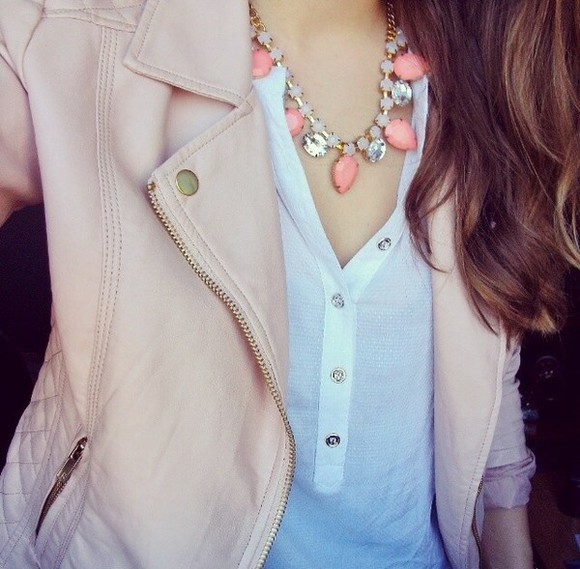 jacket jewels perfecto top blouse pink cute white necklace coral white top tank top light pink primark