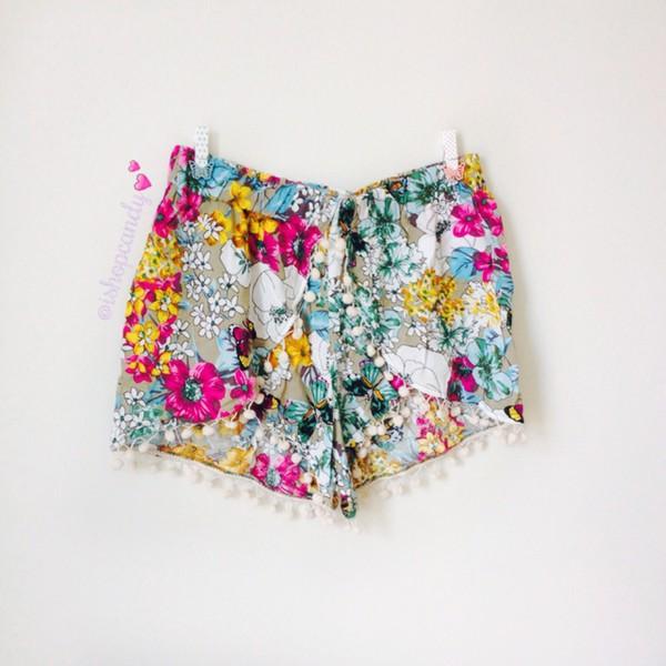 ishopcandy shorts floral grey colorful pom pom shorts