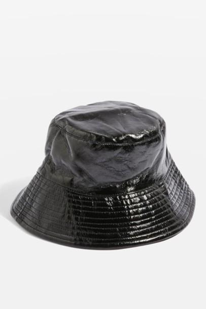 Topshop vinyl hat bucket hat black