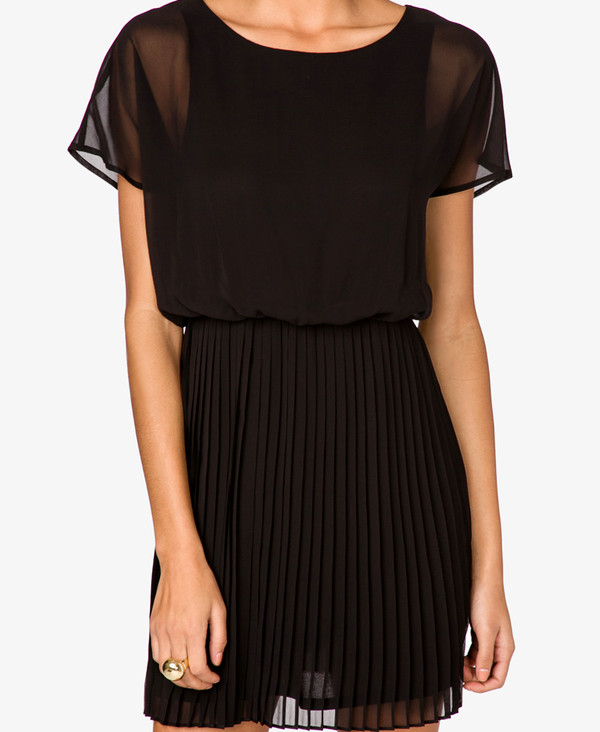 dress black black dress forever 21 mousseline