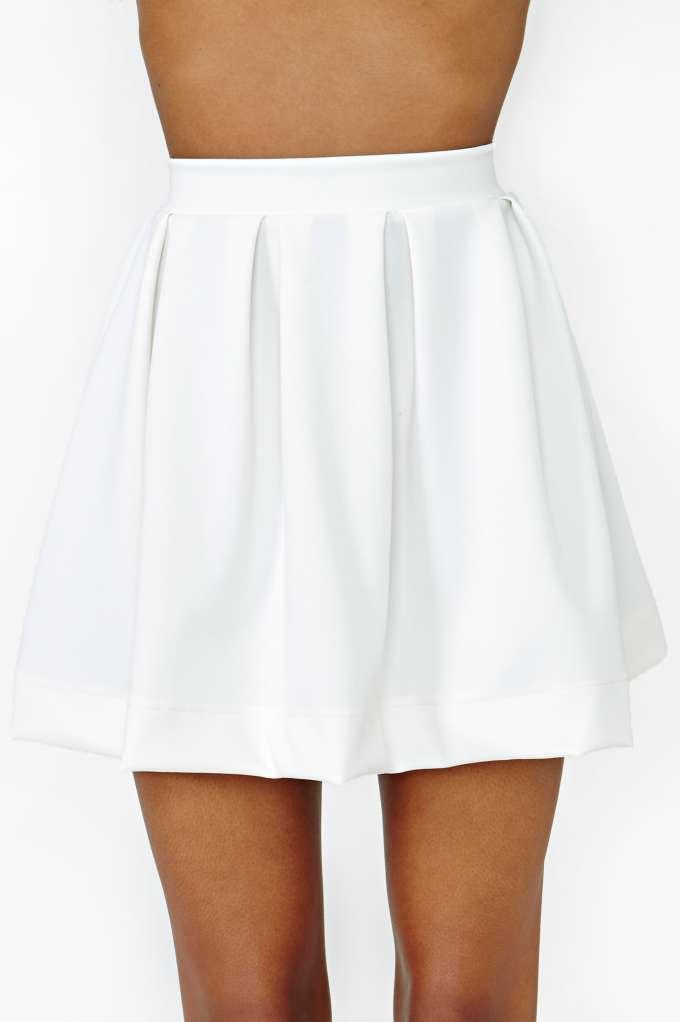 Scuba Skater Skirt - Ivory at Nasty Gal