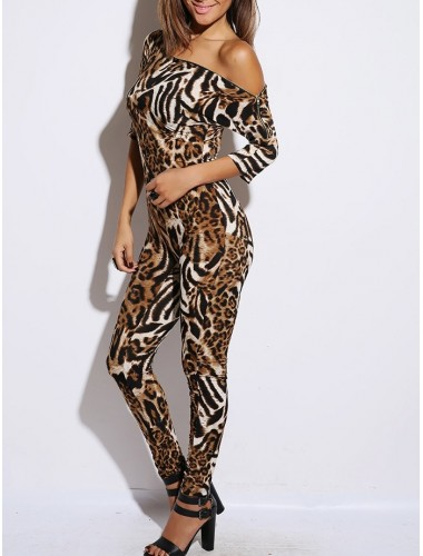 Animal Print Zip Neck Jumpsuit | Clothing | Womens Clothing, Shoes, Jewelry & Plus Sizes | B. De'Lish