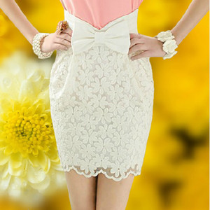 skirt white lace skirt bowknot