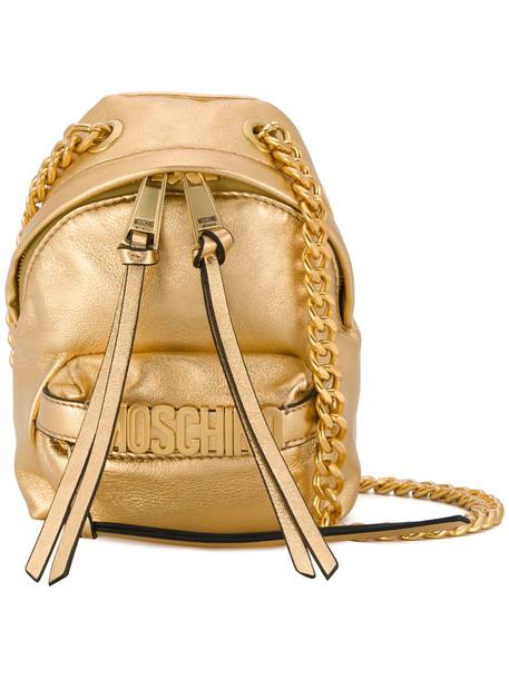 Moschino cross women bag backpack grey metallic