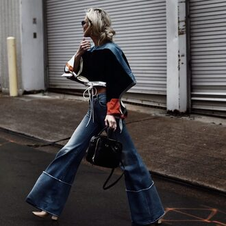 happily grey blogger top shoes bag handbag black bag wide-leg pants spring outfits