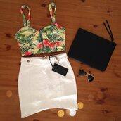 tank top,bustier,crop tops,asymmetrical skirt,ray ban sunglasses,summer,bikini,floral top,bralette,skirt,bag