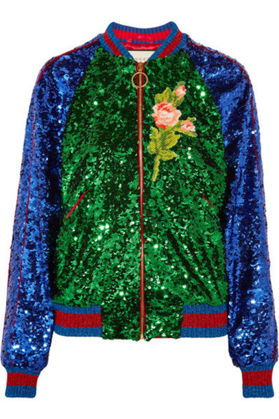 80c981608 Gucci - Appliquéd Sequined Tulle And Satin Bomber Jacket - Green ...