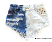 denim,high waisted,studded,blue shorts,white shorts,runwaydreamz,bleached,shorts
